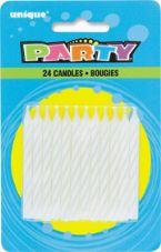 White Striped Birthday Cake Candles 24 Pack